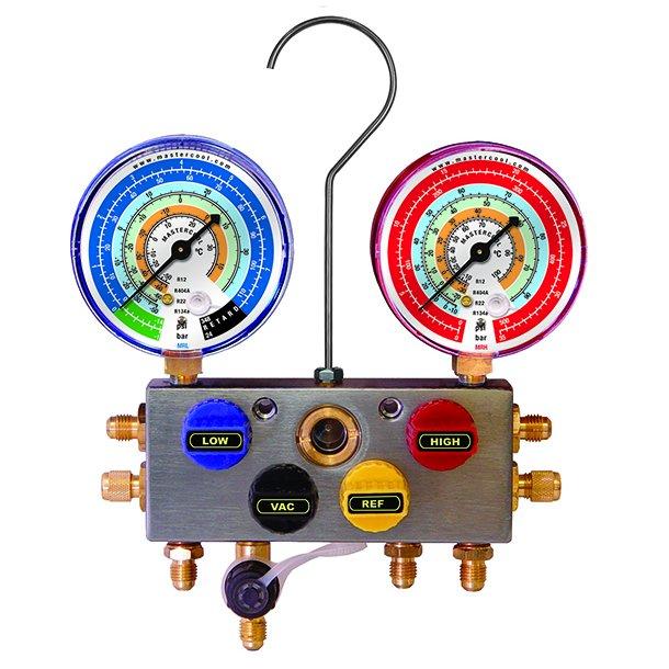 4-vejs manifold til R32, R410A (+ R22, R407C), 80 mm CL 1 instrumenter