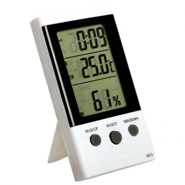 Digital termometer ET, stort display med temperatur, fugtighed og ur.