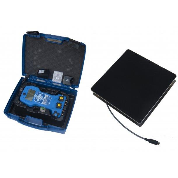 Digital manifold, 4-vejs 50 kølemidler, temp mm, i kasse, + elektronisk vægt, 100kg, Wigam