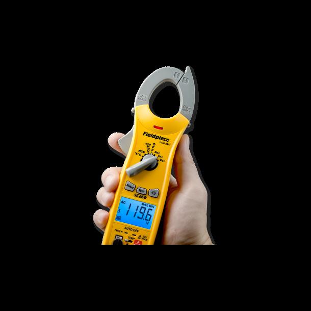 Kompakt tangamperemeter, inkl. temperaturmåling, sand RMS